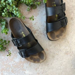 Birkenstock Brown Leather Arizona Slide Sandals